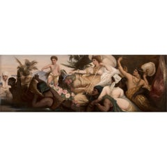 KPM Hand  Painted Porcelain Plaque Depicting Cleopatra on the Nile