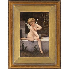 KPM Hand-Painted Porcelain Plaque, depicting cupid with butterfly