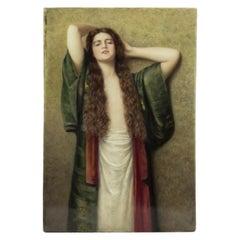 KPM Hand-painted Porcelain Plaque Depicting Portrait of a Beautiful Lady