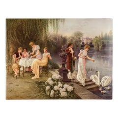 K.P.M. Hand Painted Porcelain Plaque of a Tea Party by Wagner