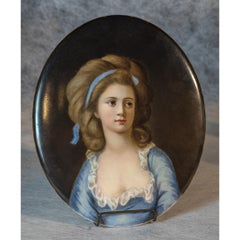 KPM Oval Plaque depicting a Beautiful Lady in Blue Dress