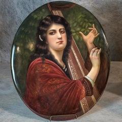 KPM Oval Porcelain Plaque Depicting The Harp of Tara