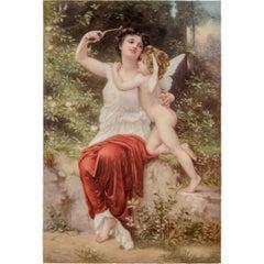 KPM Porcelain Plaque Depicting Cupid and Aphrodite