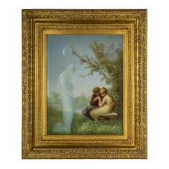Painted Berlin K.P.M. Porcelain Plaque of Veiled Spirit Gazing Upon Young Lovers