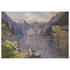 Konigssee, Painting Oil on Canvas Mountain Landscape, Alps, 1920