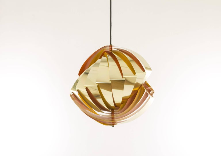 Danish Konkylie Metal Pendant in Gold and Orange by Louis Weisdorf for Lyfa, 1960s For Sale