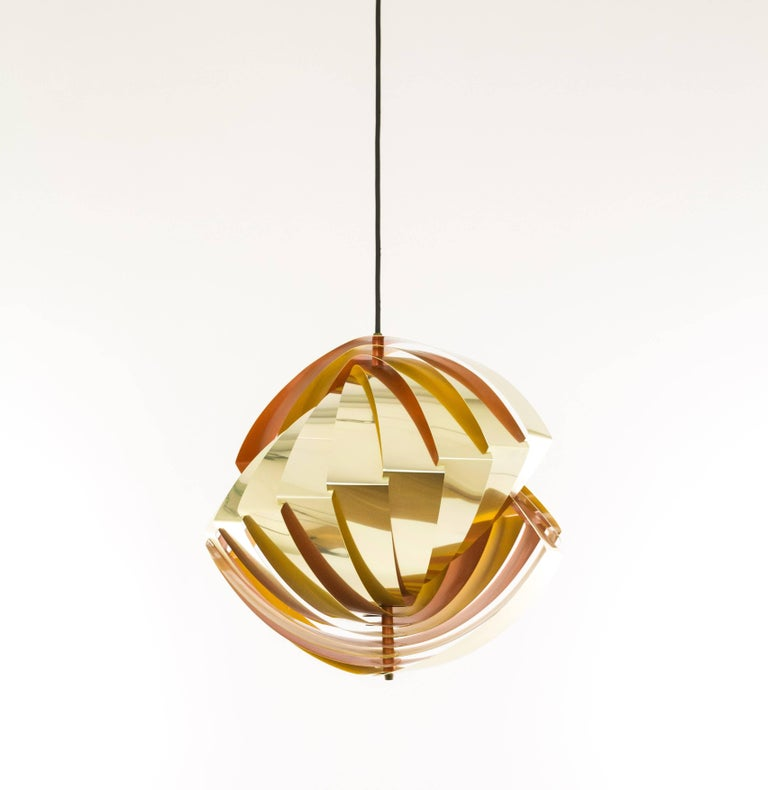 Konkylie Metal Pendant in Gold and Orange by Louis Weisdorf for Lyfa, 1960s In Excellent Condition For Sale In Rotterdam, NL