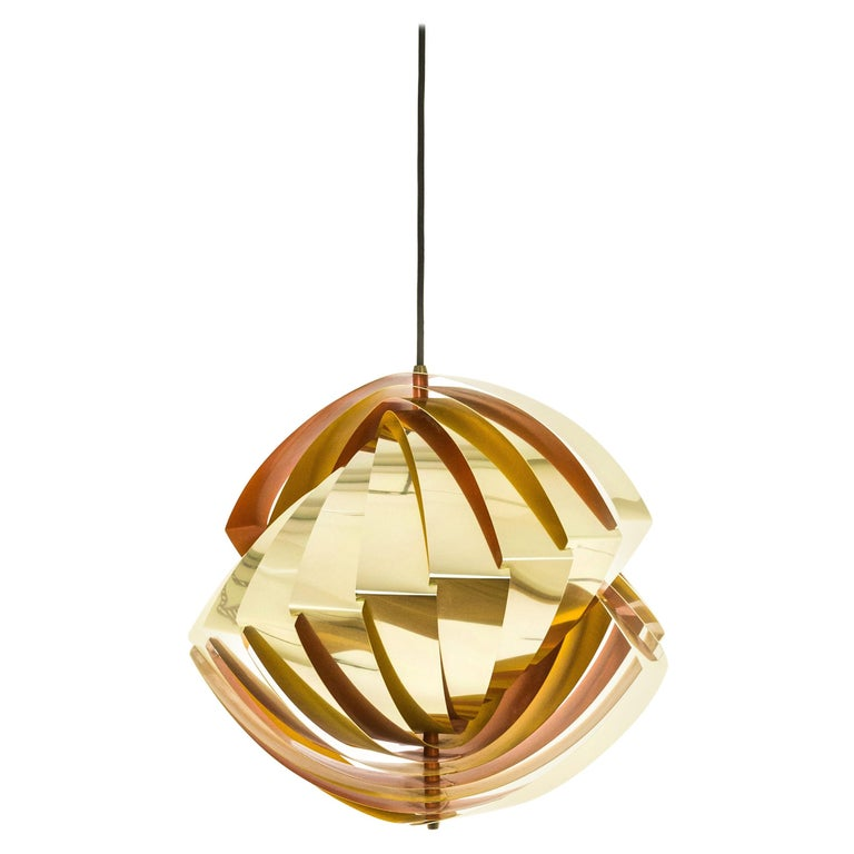 Konkylie Metal Pendant in Gold and Orange by Louis Weisdorf for Lyfa, 1960s For Sale