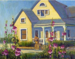 She Loves Hollyhocks, Painting, Oil on Canvas