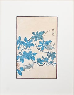 "Kirigusu ""Chatty Crickets,"" Original Botanical Color Woodcut by Kono Bairei"
