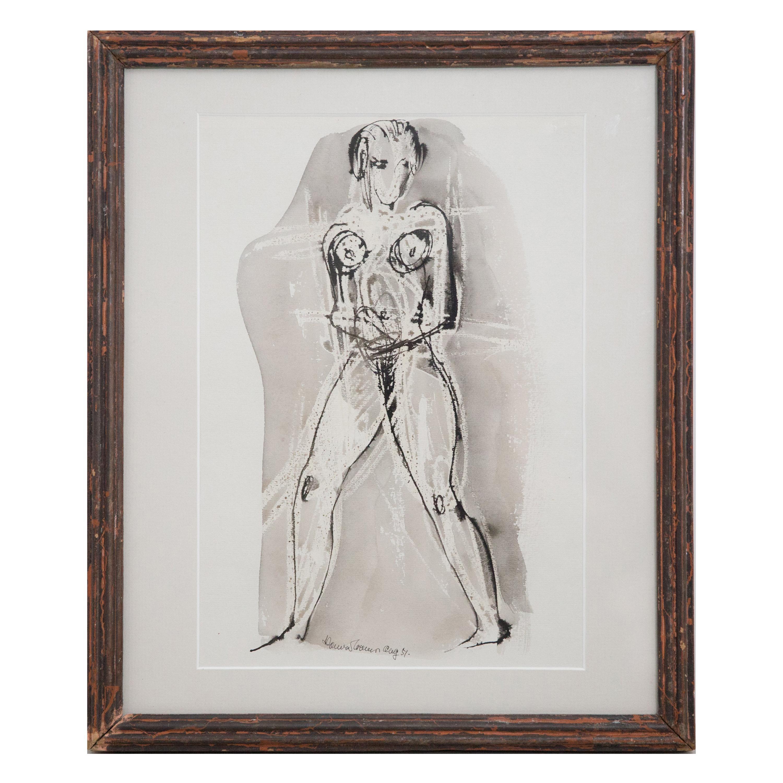 Konrad Cramer Original Signed Watercolor and Ink Nude Figure Dated August 1951
