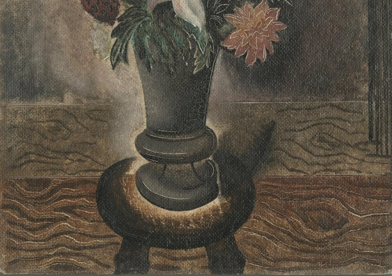 Still Life with Vase of Flowers Oil on board with incised scraffito, c. 1929-1930 Unsigned by the artist Signed and inscribed verso: