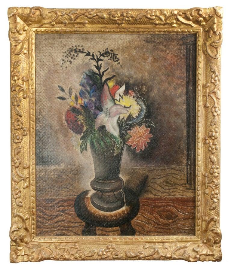 Still Life with Vase of Flowers - Painting by Konrad Cramer