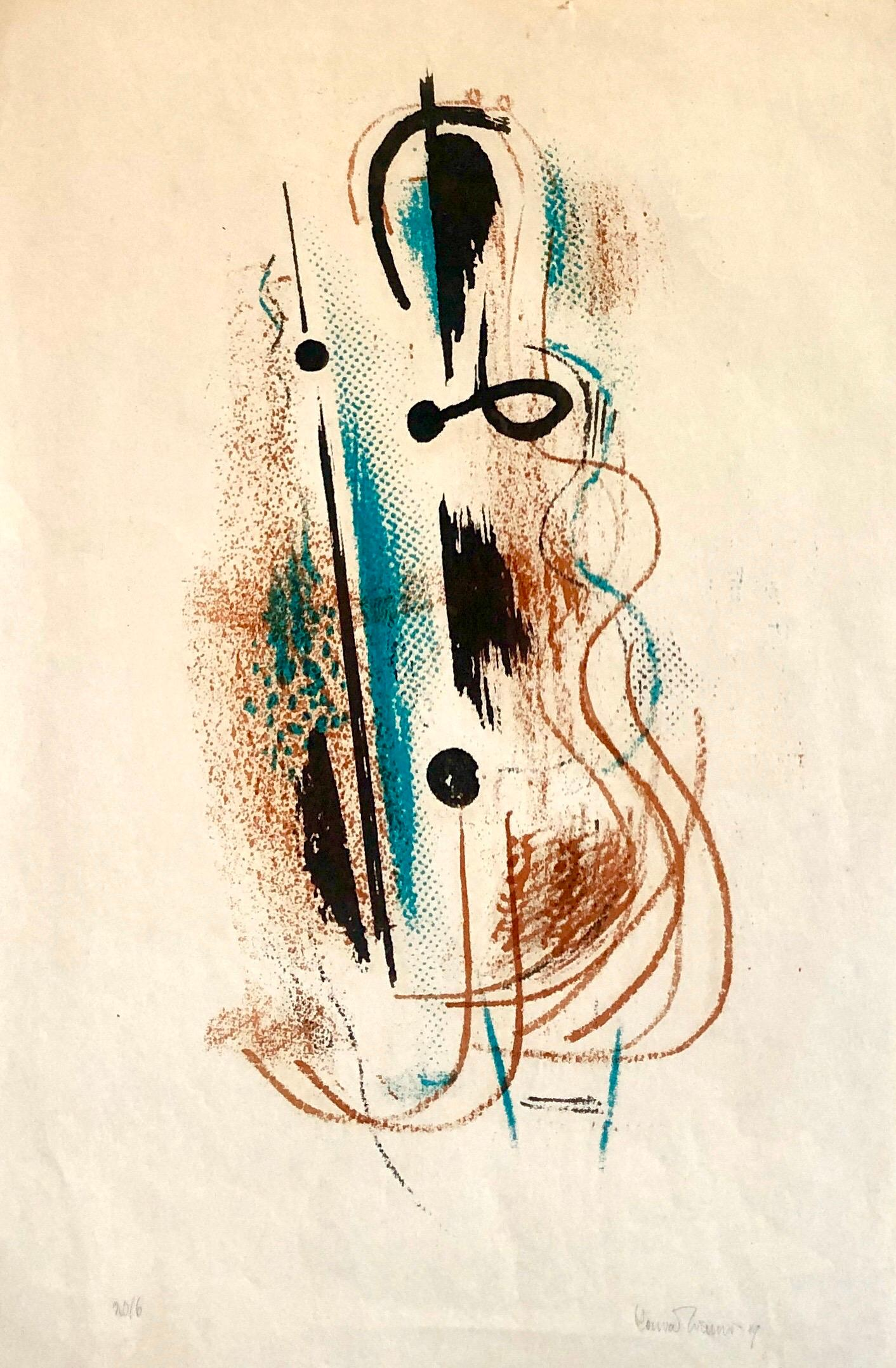 1940's Abstract Composition Jazz  Lithograph Pencil Signed and Dated WPA Artist