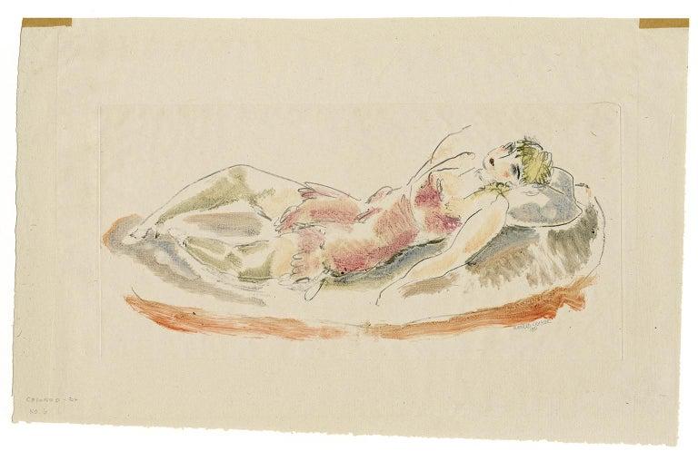 Colored Drawing No. 6 (Reclining Woman) - American Modern Print by Konrad Cramer
