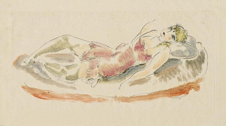 Colored Drawing No. 6 (Reclining Woman) - Print by Konrad Cramer