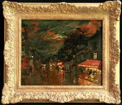 A Night in Paris - Impressionist Oil, Figures in Cityscape by Konstantin Korovin