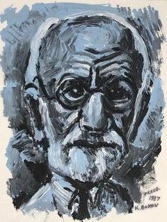 "Konstantin Bokov, ""Freud,"" Oil Paint on Canvas, 1987, Original"