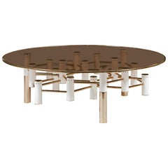 Konstantin Cocktail Table in Brass and Smoked Glass
