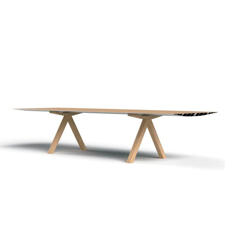 Modern Konstantin Grcic, Contemporary Laminated Aluminium Wood Legs 360 Large B Table For Sale