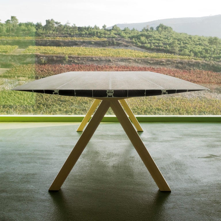 Spanish Konstantin Grcic, Contemporary Laminated Aluminium Wood Legs 360 Large B Table For Sale