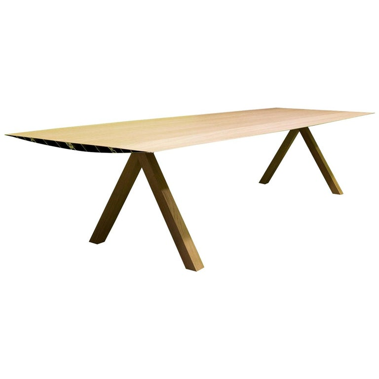 Konstantin Grcic, Contemporary Laminated Aluminium Wood Legs 360 Large B Table For Sale