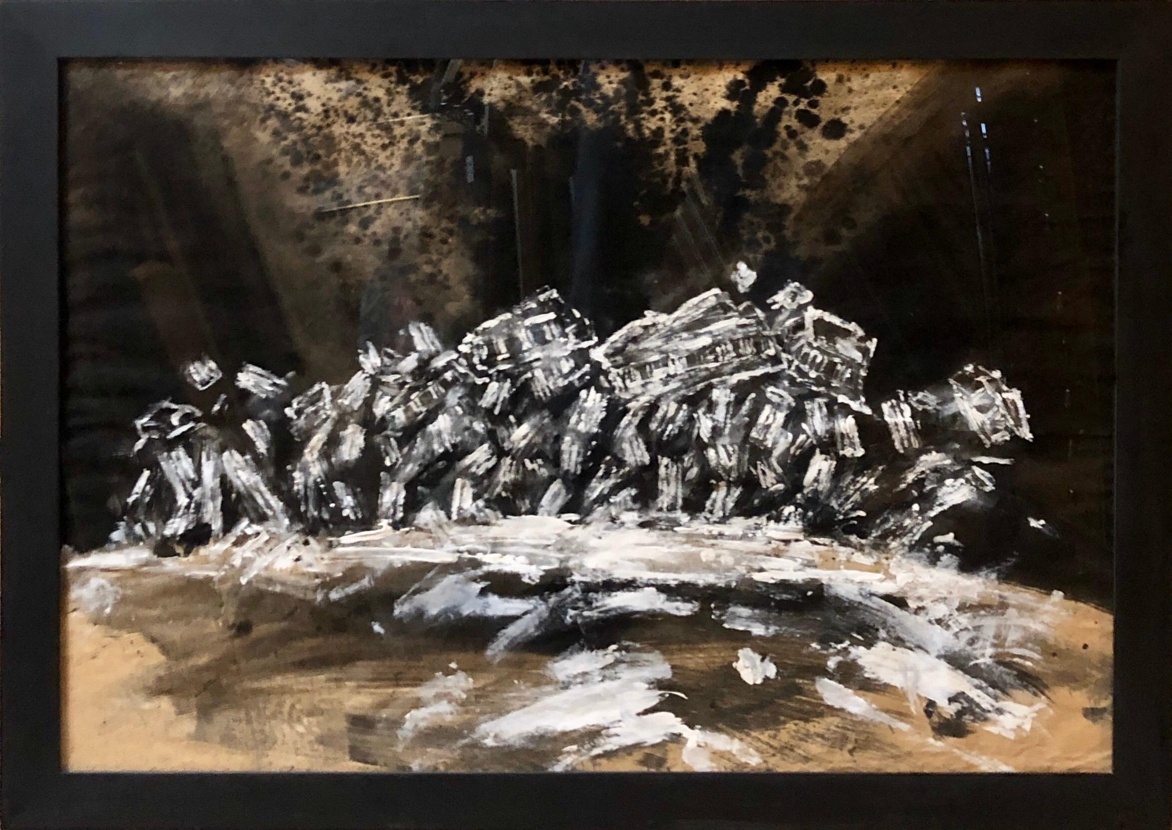 Contemporary Gouache Painting Earthquake II, Greek Ruins, Monuments of Greece