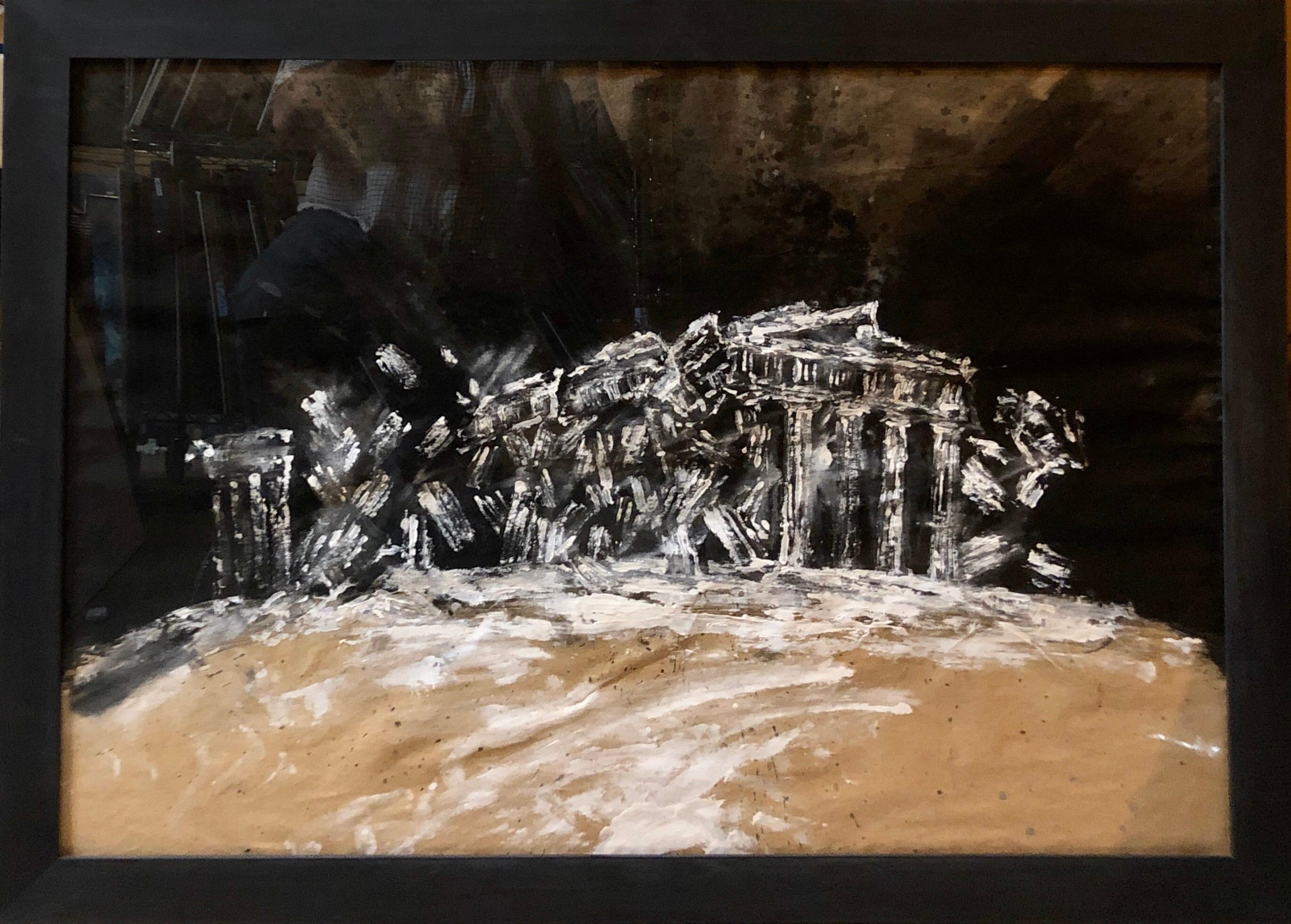Contemporary Gouache Painting Earthquake III, Greek Ruins, Monuments of Greece