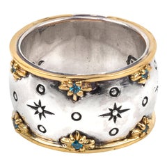 Konstantino Astria Blue Spinel Band with Sterling Silver and Gold