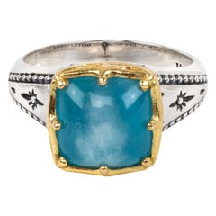 Konstantino Astria Midsize Square Aquamarine Gold and Sterling Silver Ring
