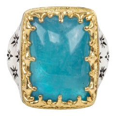 Konstantino Astria Rectangular Sterling Silver Aquamarine and Gold Ring