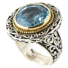 Konstantino Bue Topaz 18 Karat Gold and Sterling Silver Ring