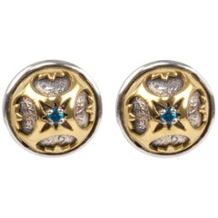 Konstantino Button Gold and Sterling Silver Pierced Earrings with Blue Spinel