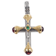 Konstantino Dainty Cross with Tsavorite and Rhodolite Silver and Gold