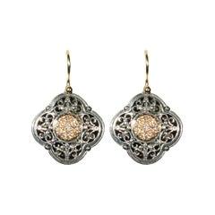 Konstantino Diamond Sterling Silver & 18k Gold Floral Motif Earring