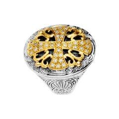 Konstantino Diamond Sterling Silver & Yellow Gold Diamond Cross Ring