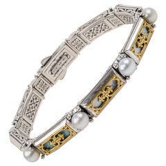 Konstantino Mother of Pearl and Pearl Sterling Silver & Yellow Gold Bracelet