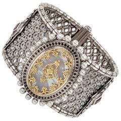 Konstantino Mother of Pearl, Spinel, Diamond Sterling Silver & 18k Gold Bracelet