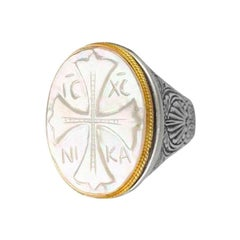 Konstantino Mother of Pearl Sterling Silver & Yellow Gold Cross Ring