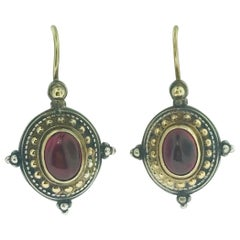 Konstantino Pink Tourmaline 18 Karat Yellow Gold and Sterling Drop Wire Earrings