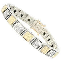 Konstantino Square Link Bracelet, Sterling Silver and 18 Karat Yellow Gold