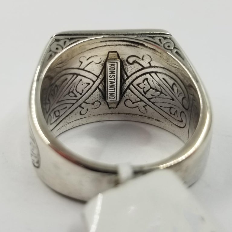 Konstantino Sterling Silver and 18 Karat Gold Men's Tiger's Eye Ring In Good Condition For Sale In Coral Gables, FL