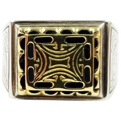Konstantino Sterling Silver and 18 Karat Gold Men's Ring
