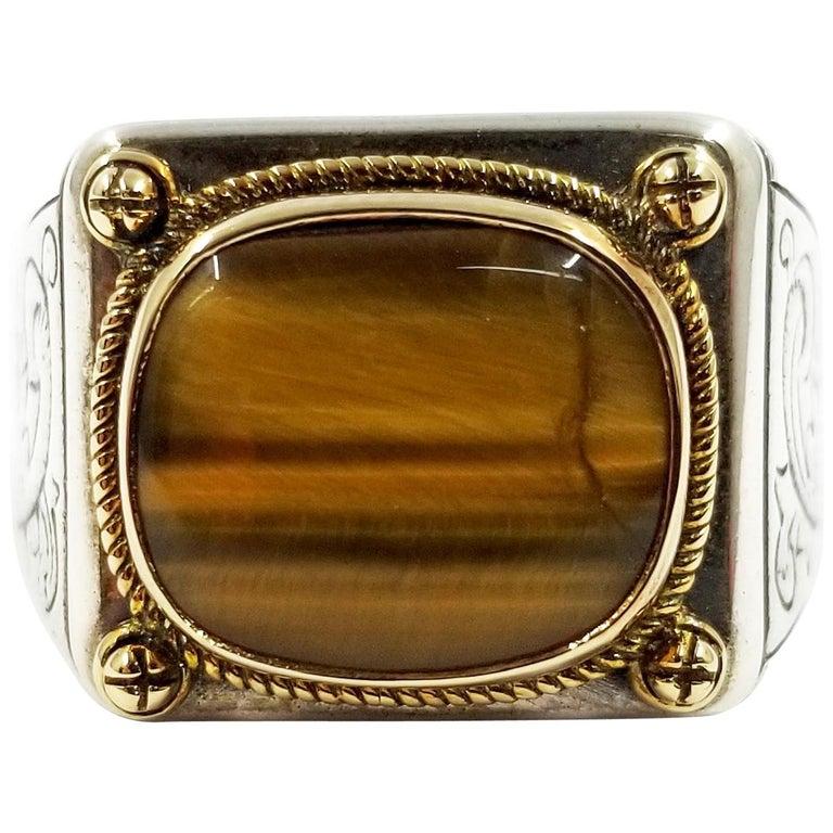 Konstantino Sterling Silver and 18 Karat Gold Men's Tiger's Eye Ring For Sale