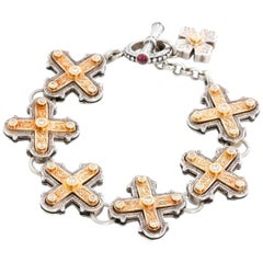 Konstantino Sterling Silver and 18 Karat Yellow Gold Cross Bracelet