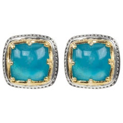 Konstantino Sterling Silver and Gold Astria Stud Earrings with Aquamarine