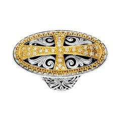 Konstantino Sterling Silver and Yellow Gold Oval Diamond Cross Ring