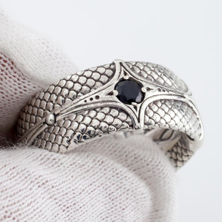 Round Cut Konstantino Sterling Silver Dragon Armor Ring with Black Spinel For Sale