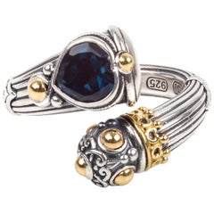 Konstantino Sterling Silver Gold and Blue Topaz Heart Ring