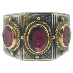 Konstantino Three Pink Tourmaline Ring in 18 Karat Gold and Sterling Silver